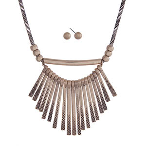 "Gold tone necklace set with hammered metal fringe. Approximately 18"" in length."