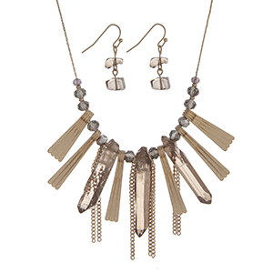 "Gold tone necklace set with gray glass beads, metal fringe, and gray natural stones. Approximately 16"" in length."