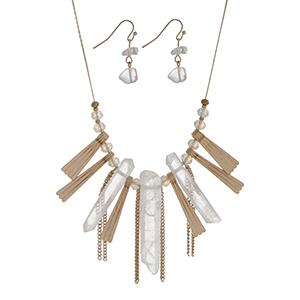 "Gold tone necklace set with white opal glass beads, metal fringe, and white natural stones. Approximately 16"" in length."