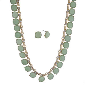 "Gold tone necklace set with round mint green cabochons and white opal rhinestones. Approximately 16"" in length."