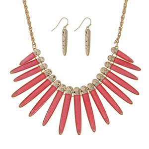 """Gold tone necklace set displaying shimmering bright coral epoxy fringe with white opal stones. Approximately 18"""" in length."""