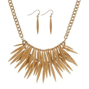 "Gold tone necklace set with a double row of metal feathers. Approximately 16"" in length."