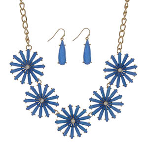 "Gold tone necklace set featuring five royal blue epoxy flowers. Approximately 18"" in length."