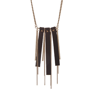 "Gold tone necklace with a leather and chain fringe pendant. Approximately 32"" in length."