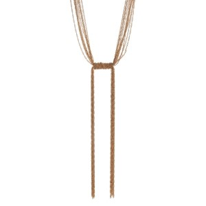 "Multi-strand gold tone knotted necklace with chain fringe. Approximately 30"" in length."