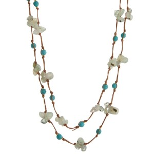 "Tan cord wrap necklace with green natural chip stones and turquoise faceted beads. Approximately 60"" in length."