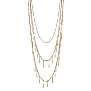 """Gold tone multi layer necklace with metal fringe. Approximately 32"""" in length."""
