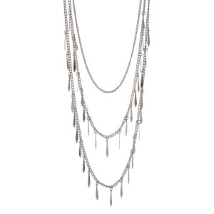 "Silver tone multi layer necklace with metal fringe. Approximately 32"" in length."
