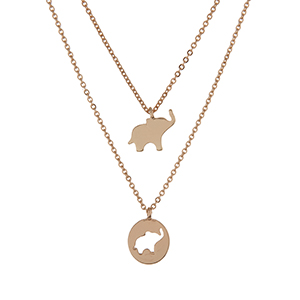 "Gold tone double layer necklace with elephant pendants. Approximately 16"" in length."