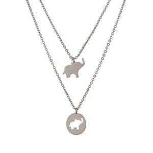 "Silver tone double layer necklace with elephant pendants. Approximately 16"" in length."