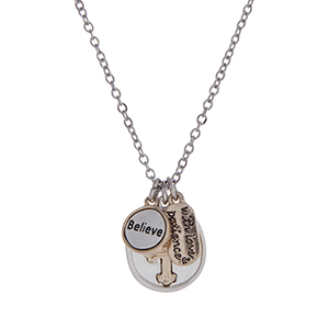 "Silver tone necklace with ""Believe"", ""Have Faith"", and ""With love and patience"" stamped charms."