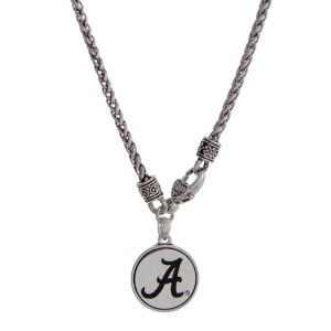 "Officially licensed University of Alabama silver tone necklace with a front lobster claps and a logo charm. Approximately 18"" in length."
