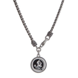 "Officially licensed Florida State University silver tone necklace with a front lobster claps and a logo charm. Approximately 18"" in length."