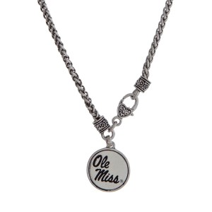 "Officially licensed Ole Miss silver tone necklace with a front lobster claps and a logo charm. Approximately 18"" in length."