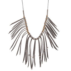 "Adjustable gray cord necklace with fringe and silver tone bead accents. Approximately 36"" in length."