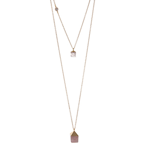 "Gold tone double layer necklace featuring two square rose quartz natural stones. Approximately 32"" in length. Handmade in the USA."