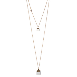 "Gold tone double layer necklace featuring two square clear natural stones. Approximately 32"" in length. Handmade in the USA."