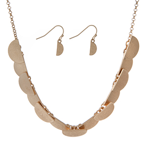 "Burnished gold tone necklace set featuring half circles and matching earrings. Approximately 16"" in length."