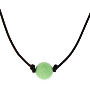 """Brown cord necklace featuring a lime green natural stone bead. Approximately 17"""" in length."""