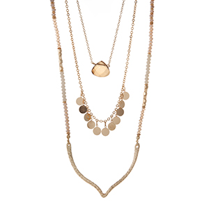 "Gold tone triple layer necklace with ivory and gray beads with a teardrop natural stone pendant. Approximately 32"" in length."