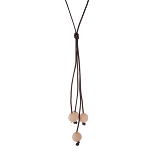 "Brown cord necklace with a peach natural stone beaded tassel. Approximately 32"" in length."