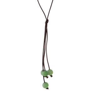 "Brown cord necklace with a green natural stone beaded tassel. Approximately 32"" in length."