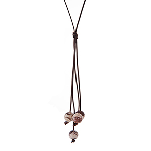 "Brown cord necklace with a brown natural stone beaded tassel. Approximately 32"" in length."