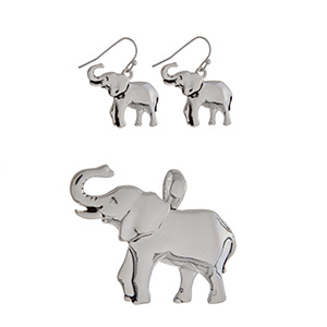 Silver tone pendant and earring set displaying elephants.