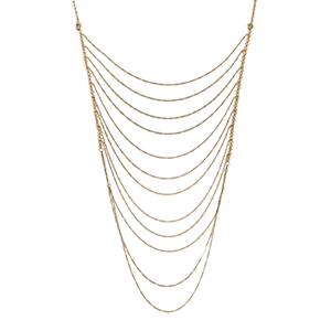 """Gold tone multi layer necklace with topaz iridescent beads. Approximately 32"""" in length."""