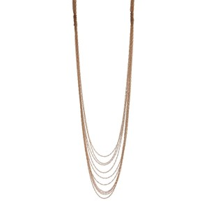 "Gold tone multi layered necklace. Approximately 32"" in length."