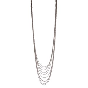 "Silver tone multi layered necklace. Approximately 32"" in length."
