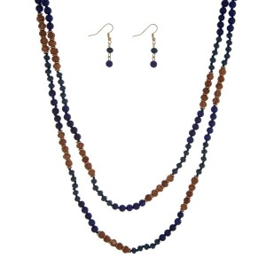 "Navy blue and wooden beaded wrap necklace set. Approximately 60"" in length."