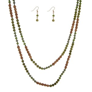 "Olive green and wooden beaded wrap necklace set. Approximately 60"" in length."