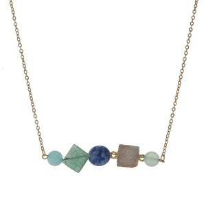"""Gold tone necklace with green, blue and white natural stones. Approximately 16"""" in length."""