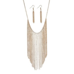 "Gold tone statement necklace set with chain fringe. Approximately 18"" in length."