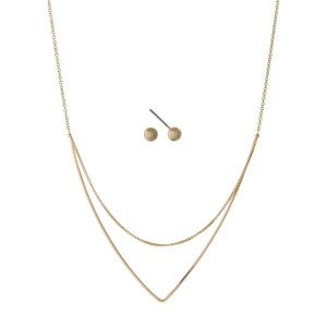 "Dainty gold tone necklace set with a layered triangle pendant. Approximately 18"" in length."