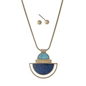 "Gold tone necklace set displaying a half circle pendant with blue and turquoise stones. Approximately 22"" in length."