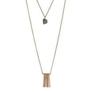 "Gold tone double layer necklace with metal fringe and a gray stone. Approximately 32"" in length."