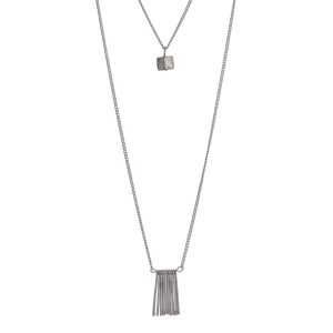 "Silver tone double layer necklace with metal fringe and a gray stone. Approximately 32"" in length."