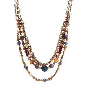 """Gold tone multi layer necklace with bronze and navy beads. Approximately 32"""" in length."""