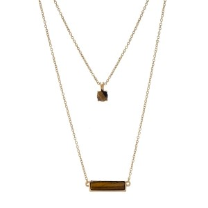 "Dainty gold tone double layer necklace with tiger's eye stones. Approximately 18"" in length."