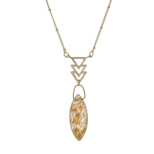 "Dainty gold tone necklace with arrows and a beige oval stone. Approximately 16"" in length."