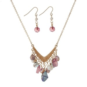 "Gold tone necklace set with a 'v' shaped pendant and purple bead charms. Approximately 18"" in length."