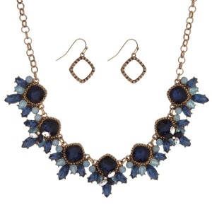 "Gold tone necklace set with light blue and navy blue rhinestones and matching fishhook earrings. Approximately 16"" in length."