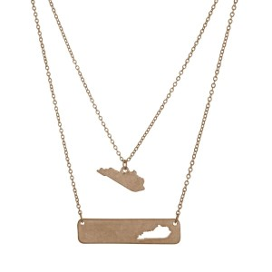"""Gold tone double layer necklace with a Kentucky pendant and a bar with the state shape cutout. Approximately 18"""" in length."""