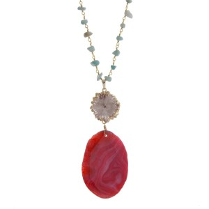 """Gold tone necklace with mint green chip stones, featuring a pink natural stone pendant. Approximately 32"""" in length. Handmade in the USA."""