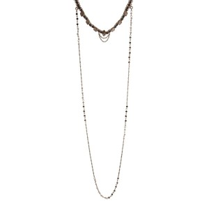 """Gold tone double layer necklace with a topaz choker and a removable ivory and bronze beaded long layer. Approximately 32"""" in length."""
