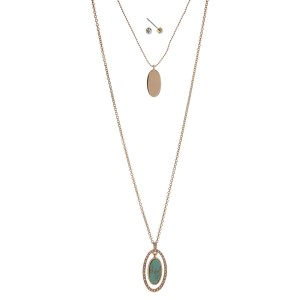 "Gold tone double layer necklace set with a turquoise stone pendant. Approximately 32"" in length."