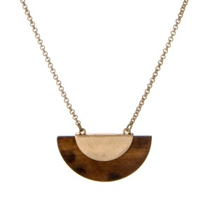 """Gold tone necklace with a wooden half circle pendant. Approximately 32"""" in length."""