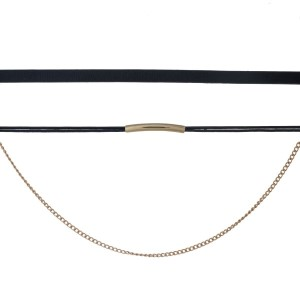 "Black faux leather choker set with gold tone hardware. Approximately 14"" in length."